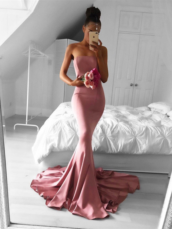 Elegant Strapless Mermaid 2020 Formal Dress Long Prom Dress for Party