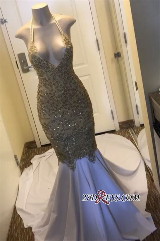 Sparkly Lace-Appliques Beading Mermaid Prom Dresses