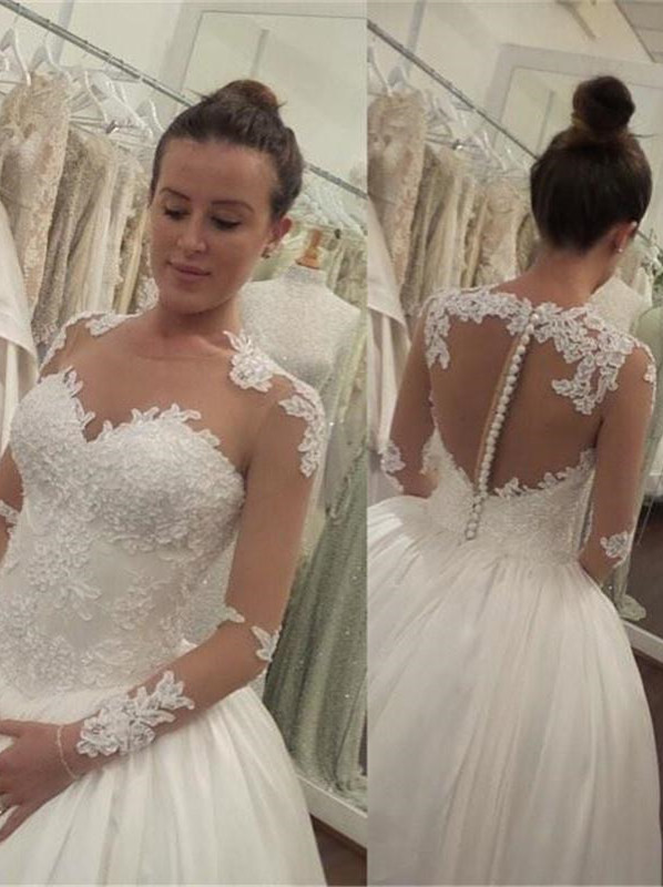 Elegant Lace Appliques Tulle Wedding Dress 2020 Button Zipper Back