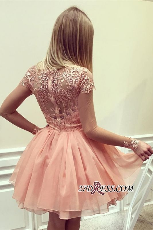Appliques 2020 Glamorous Short Long-Sleeves A-Line Homecoming Dress