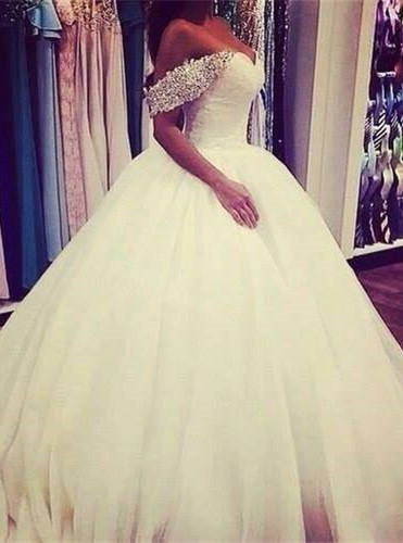 Elegant Tulle Ball Gown Wedding Dress 2020 Off-the-shoulder Crystals BA3316