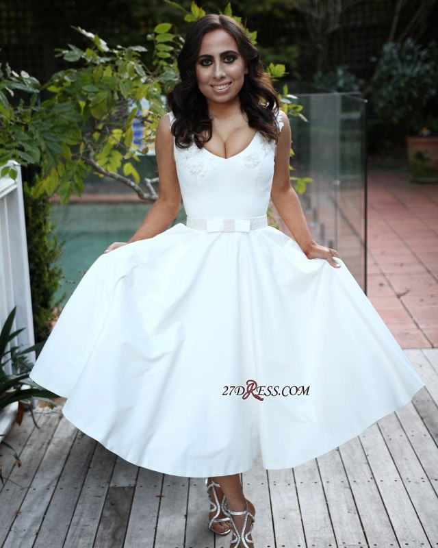 Elegant White Sleeveless Prom Dress | 2020 A-Line Short Evening Party Gowns