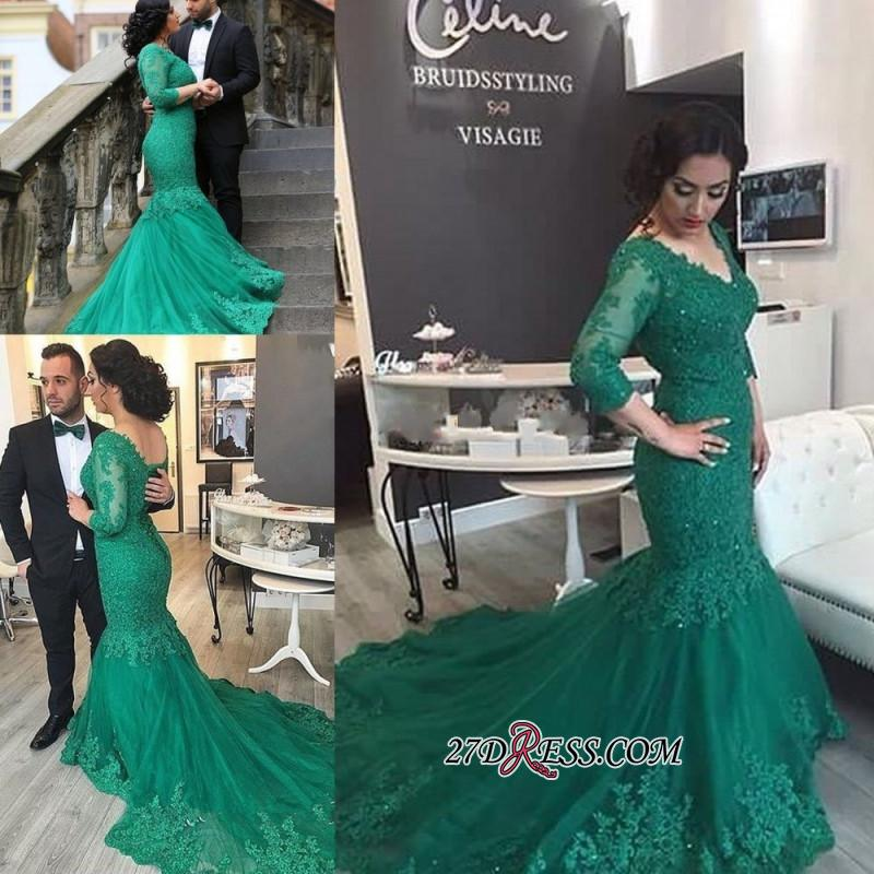 2020 Court-Train Mermaid Newest Tulle Appliques V-Neck Prom Dress BA4275