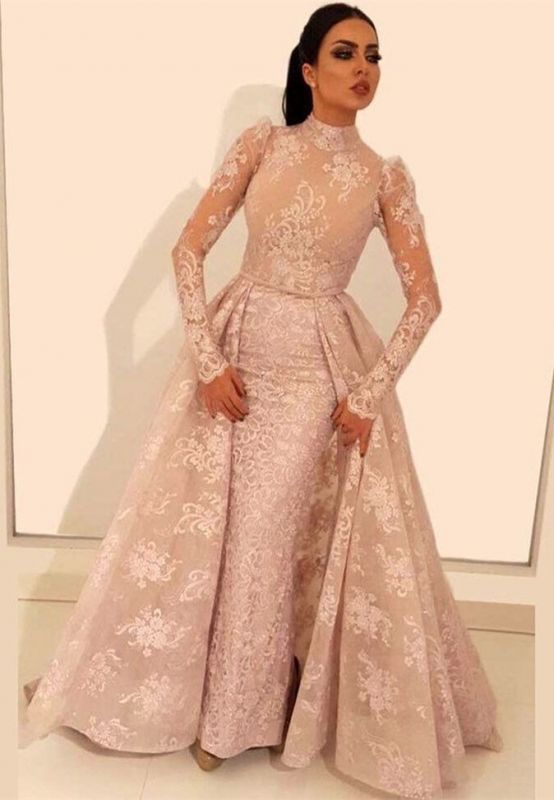 Glamorous Long Sleeve Prom Dresses   2020 Lace Evening Gowns With Ruffles BC1197