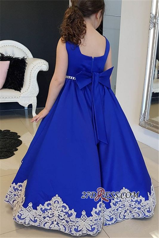 Blue Straps Royal Appliques A-Line Floor-length Flower Girl dresses