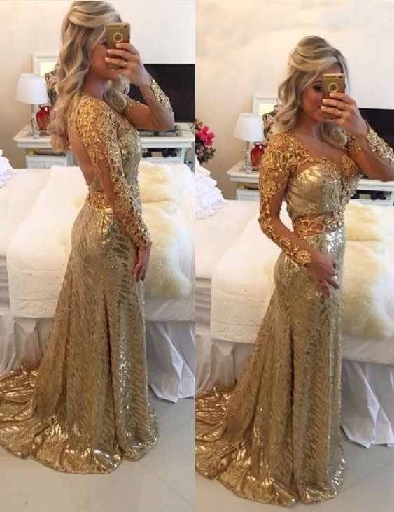 Delicate Gold Sequined Lace Appliques Prom Dress | Mermaid Long Sleeve Evening Gown