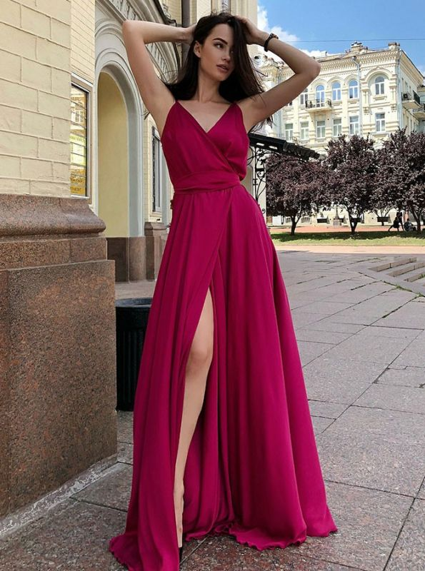 2020 Front Split Spaghetti Strap Long Evening Gown | 2020 V Neck Sleeveless Prom Dress On Sale
