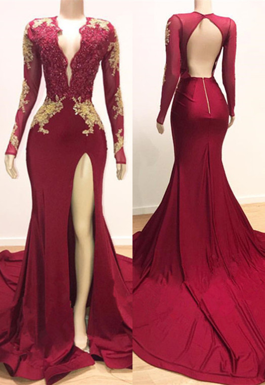 Gorgeous Long Sleeve Mermaid Prom Dresses | 2020 Lace Appliques Evening Gown With Slit