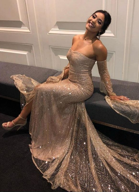 Glamorous Strapless Long Sleeves Mermaid Prom Dress | 2020 Sequins Front Split Evening Gown
