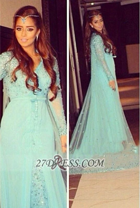 Glamorous v-neck Long Sleeve Tulle Prom Dress With Beadings Crystals
