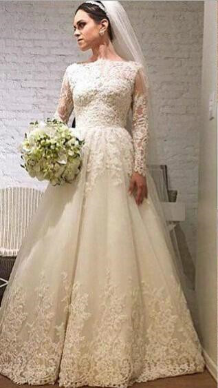 Elegant Lace Appliques Tulle 2020 Wedding Dress Long Sleeve A-line