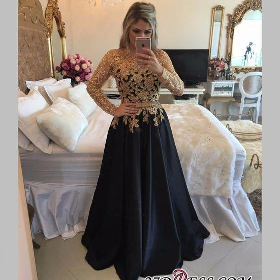 Lace Black Puffy Pearls Gold Long-Sleeves Appliques A-line Prom Dresses LY146