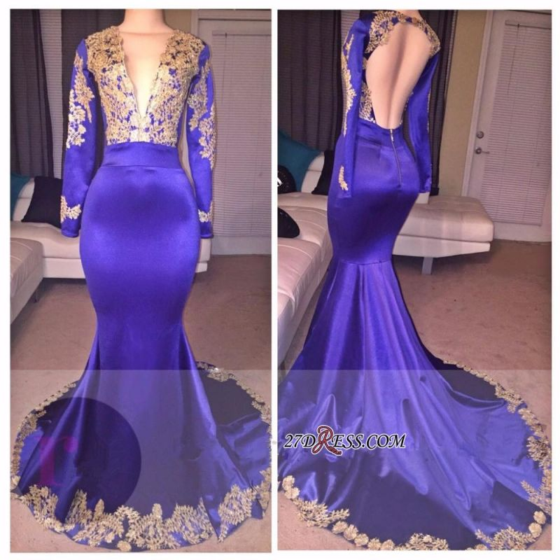 Deep-V-Neck Appliques Sexy Appliques Long-Sleeves Prom Dress