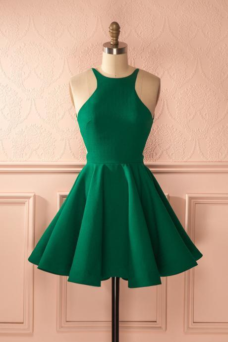 Elegant Sleeveless Green 2020 Homecoming Dress Backless Zipper Party Gowns