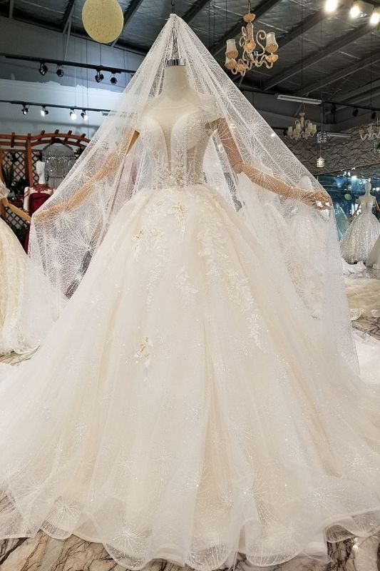Glamorous Cap Sleeves Beadings Wedding Dresses | 2020 Ball Gown Lace Sequins Bridal Dress