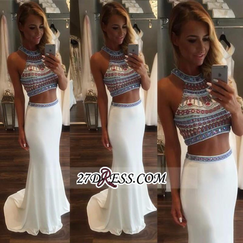 Crystal Mermaid Pieces Two High-Neck Glamorous Prom Dress BA3593