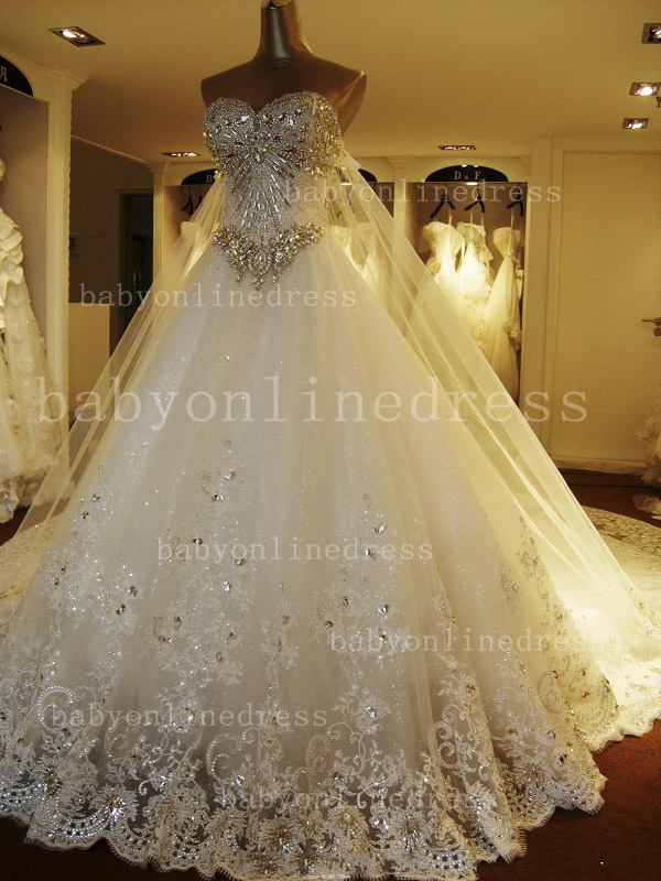 Beading White Lace Wedding Dresses Wholesale Topped Sweetheart Lace Cathedral Train Gowns