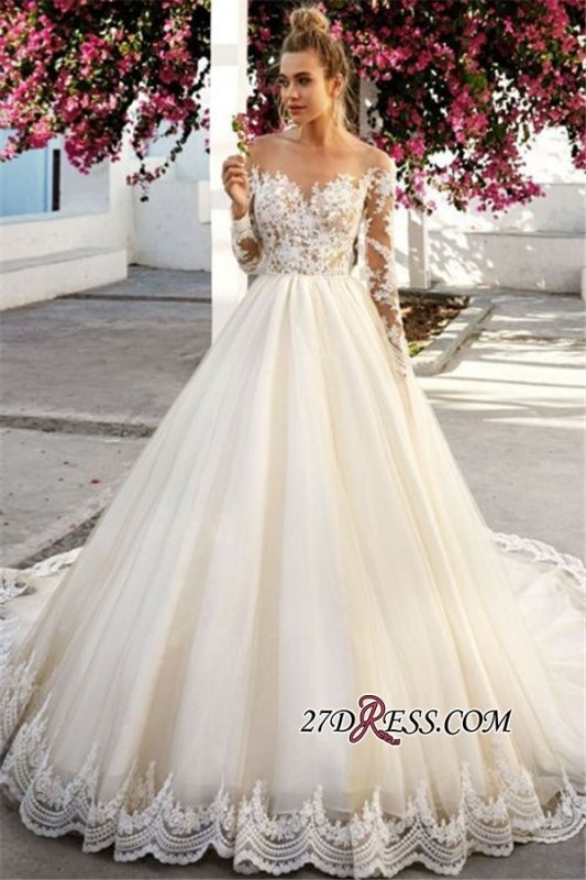 Exquisite Off The Shoulder A-Line Wedding Dresses | Long Sleeves Lace Appliques Bridal Gowns BC0756