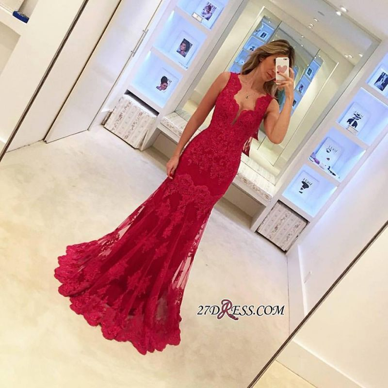 Sexy Sleeveless Red Mermaid Elegant Long Lace Evening Dresses BA3745