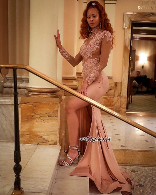 Gorgeous Long-Sleeve High-Neck Evening Dress | 2020 Mermaid Lace Prom Dress BC4076