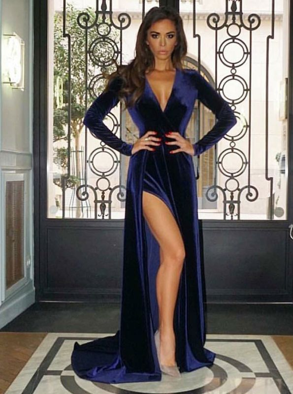 2020 Modest V Neck Long Prom Gown   Long Sleeve Evening Dress With Slit BC0523