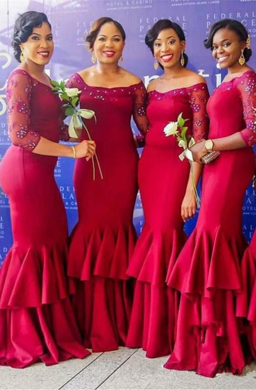Elegant Long Sleeve Bridesmaid Dress | 2020 Mermaid Lace Fuchsia Maid of Honor Dress