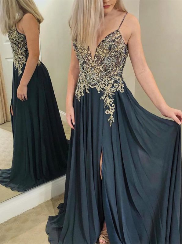 Charming Spaghetti Strap Sleeveless Evening Gowns | Beaded Appliques Prom Dress With Split