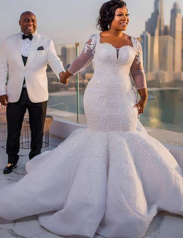 Gorgeous White Mermaid Beads 3/4-length Sleeves Wedding Dress | Plus Size Bridal Gown