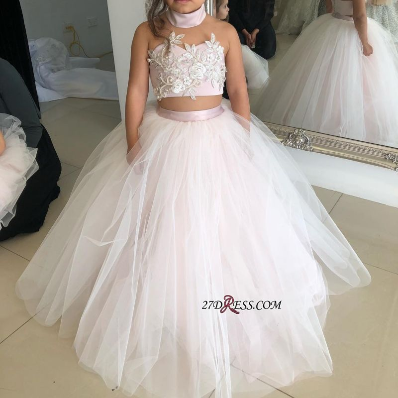 Flower Lovely Two-Pieces Sweetheart Tulle Pink Appliques Girl Dresses