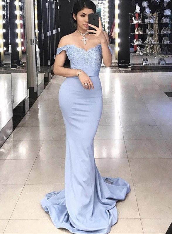 Glamorous Off-the-Shoulder 2020 Mermaid Evening Dress Long Lace Party Dress Long