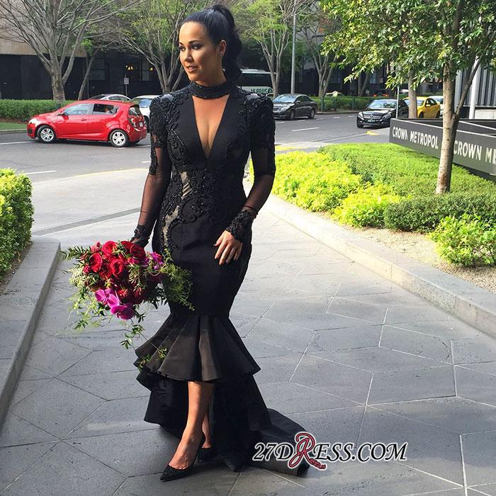 2020 Deep-V-Neck Mermaid Long-Sleeves Lace Appliques Puffy Hi-lo Black Prom Dresses BC0309