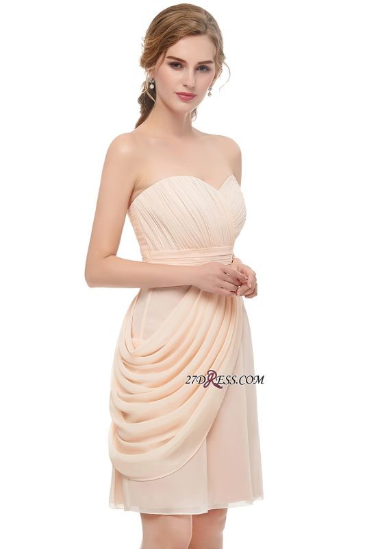 Short Cocktail Chiffon Strapless Sheath Simple Homecoming Dresses