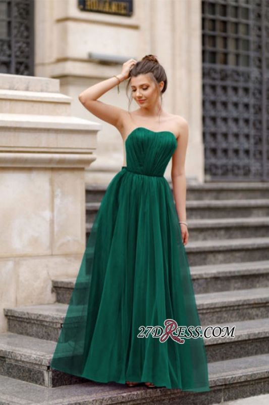 A-line Ruffles Backless Formal Floor-length Charming Sweetheart Evening Dress