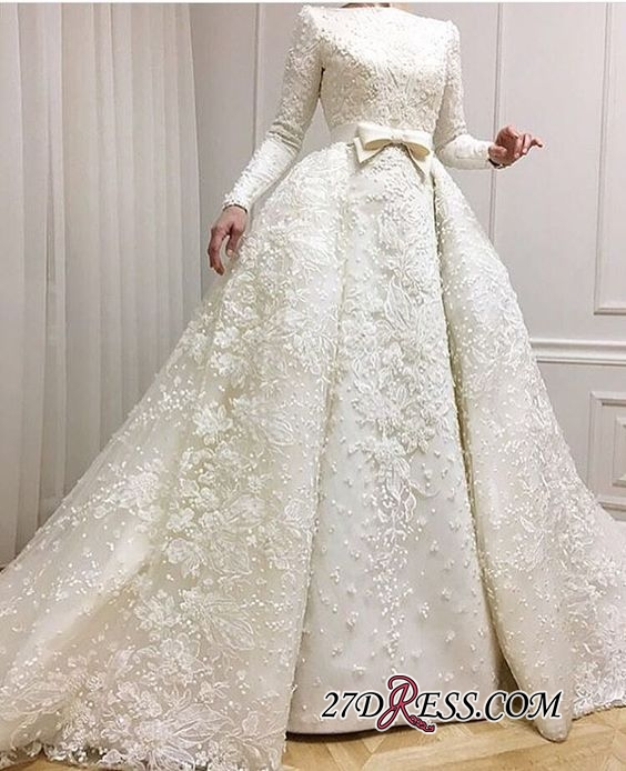 Long-Sleeves Muslim Full Lace 2020 Wedding Dresses Overskirt Online BA9362