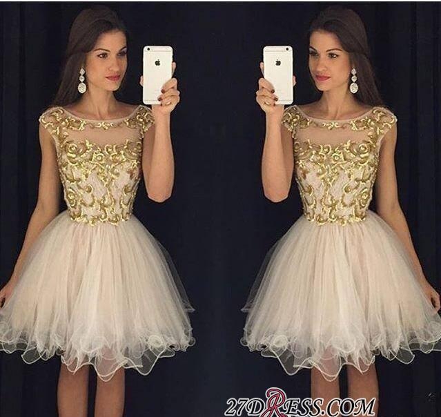 Champagne Gold Sheer Neckline Capped-Sleeves Homecoming Dresses AP0 ba3580