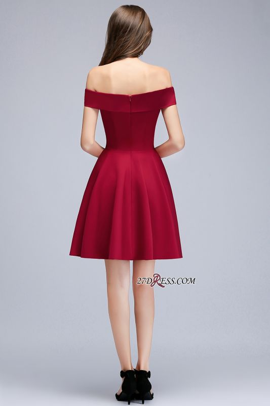 Length Knee Sweetheart A-Line Off-the-Shoulder Homecoming Dresses