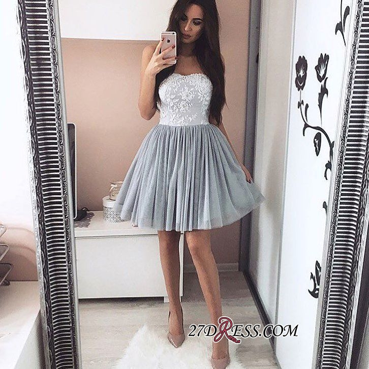 2020 A-Line Short Appliques Sweetheart Appliques Simple Homecoming Dress
