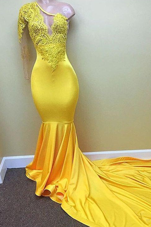 Yellow one shoulder mermaid prom dress, lace evening dresses 2020