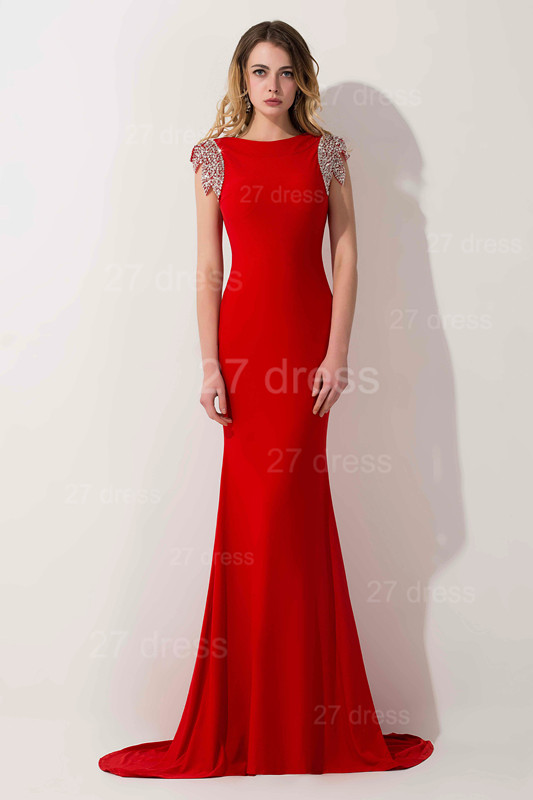 Sexy Red Cap Sleeve 2020 Prom Dress Long With Crystals