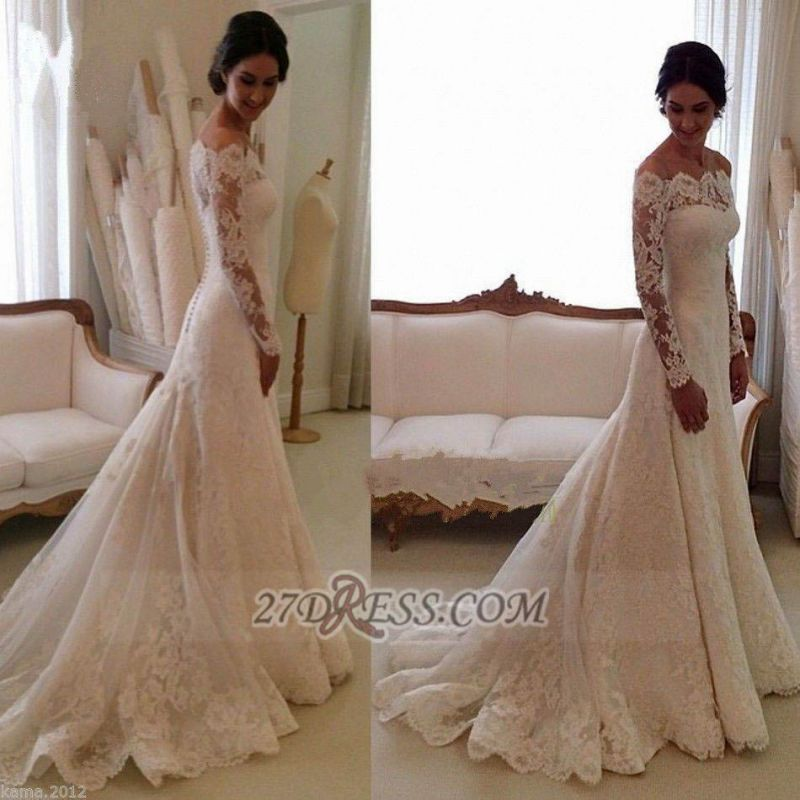 Glamorous Long Sleeve Lace Wedding Dress With Long Train And Lace Appliques
