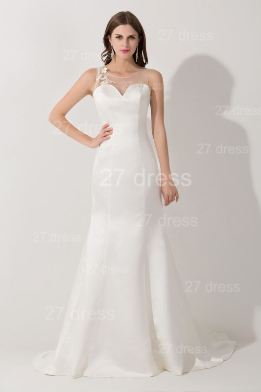 Sexy White Mermaid Illusion Evening Dress Pearls Bowknot Sweep Train