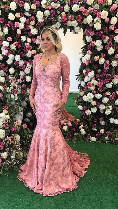 2020 Long Sleeve Prom Dress   Mermaid Lace Appliques Evening Gowns BA9236