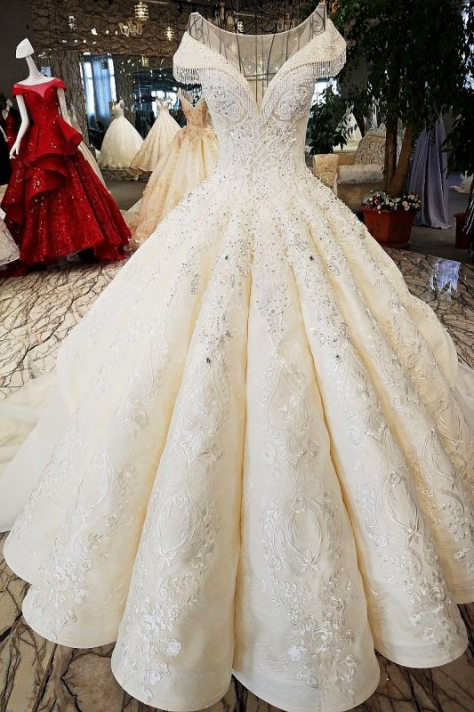 Luxurious Cap Sleeve Ball Gown Wedding Dresses | 2020 Lace Beadings Bridal Gowns
