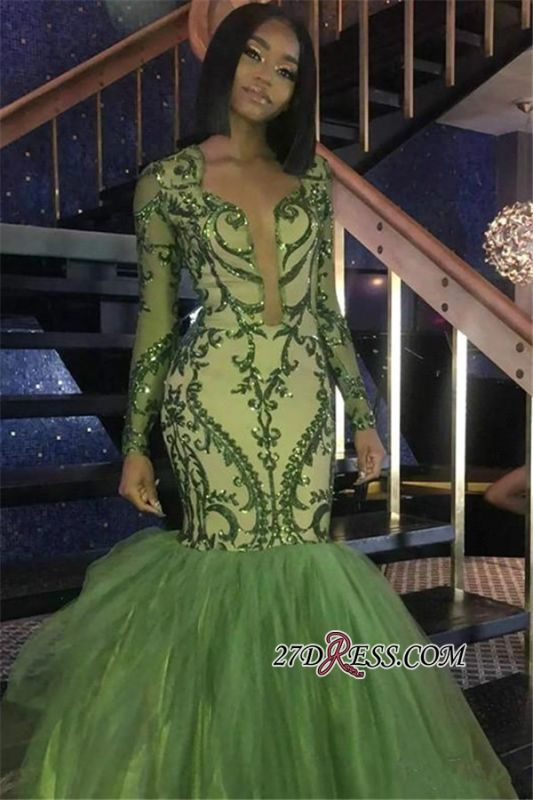 Gorgeous Green Long Sleeve Tulle Prom Dress   2020 Mermaid Sequins Evening Gowns BK0
