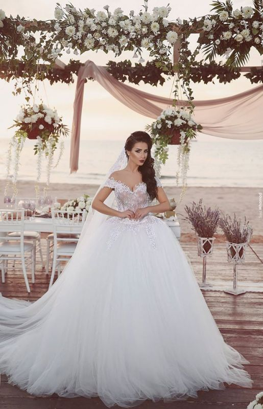 Delicate Tulle Lace Appliques 2020 Wedding Dress Off-the-shoulder Ball Gown