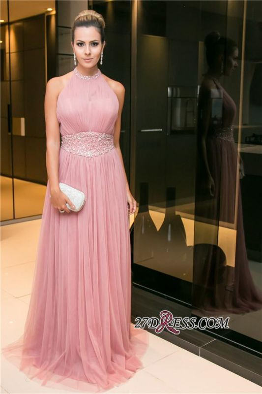 2020 Tulle Halter Open-Back Long Candy-Pink Sleeveless Beaded Evening Dress