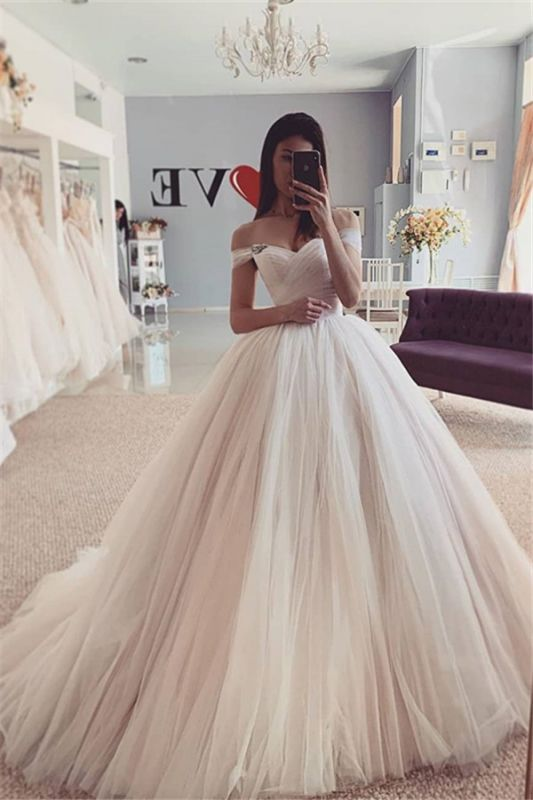 Off-the-Shoulder Puffy Tulle Ball Gown A-line Chic Bridal Dress