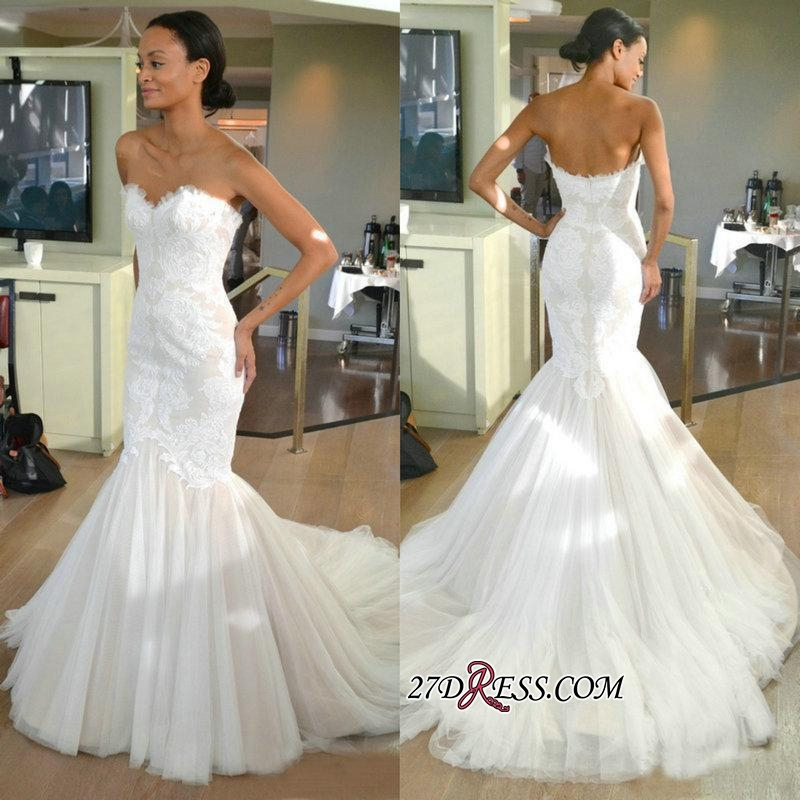 Strapless Sleeves Mermaid Lace Sweep-train Tulle Wedding Dress