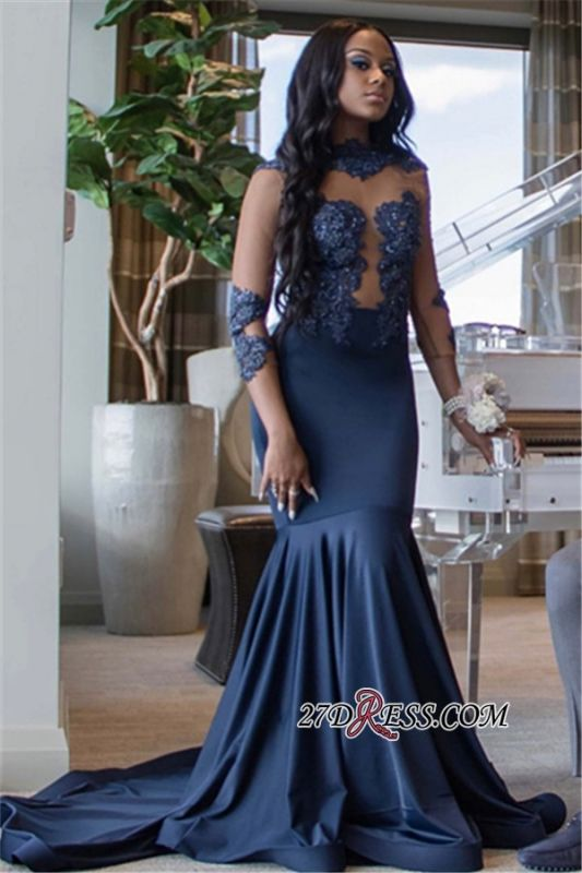 Sexy See Through Appliques Mermaid Prom Dresses | High Neck 3/4 Long Sleeves Evening Dresses BC1007 BK0