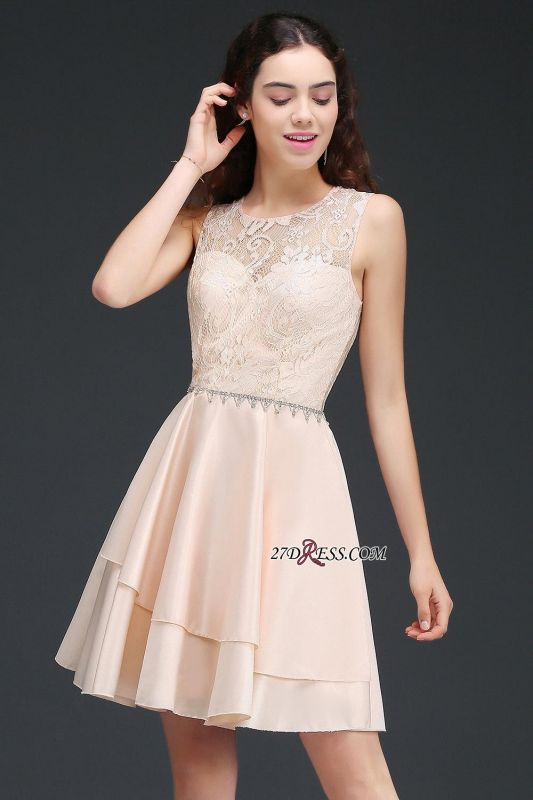 Elegant A-line Sleeveless Beading Tiers Lace Homecoming Dresses